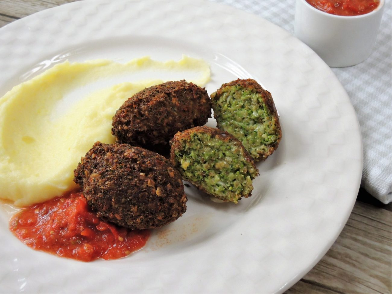 Brokolicové krokety s bramborovou kaší
