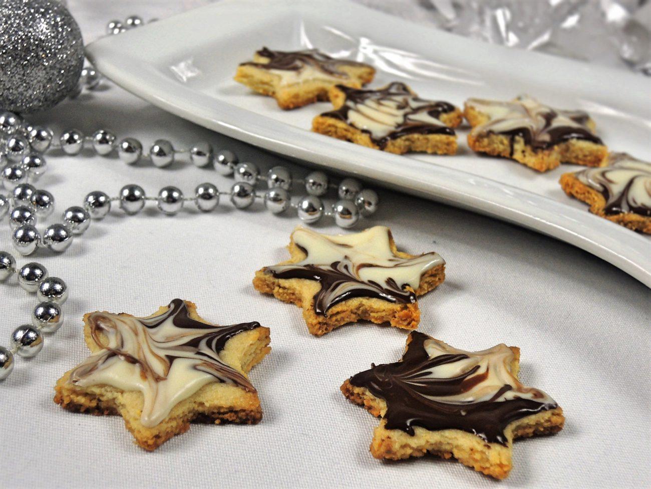 Mandlové hvězdičky s čokoládou