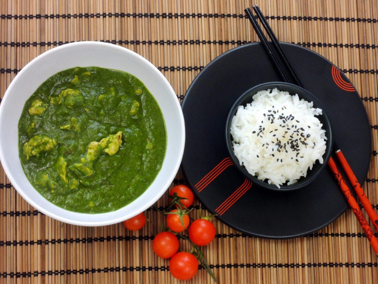 Krůtí špenátové kari s jasmínovou rýží