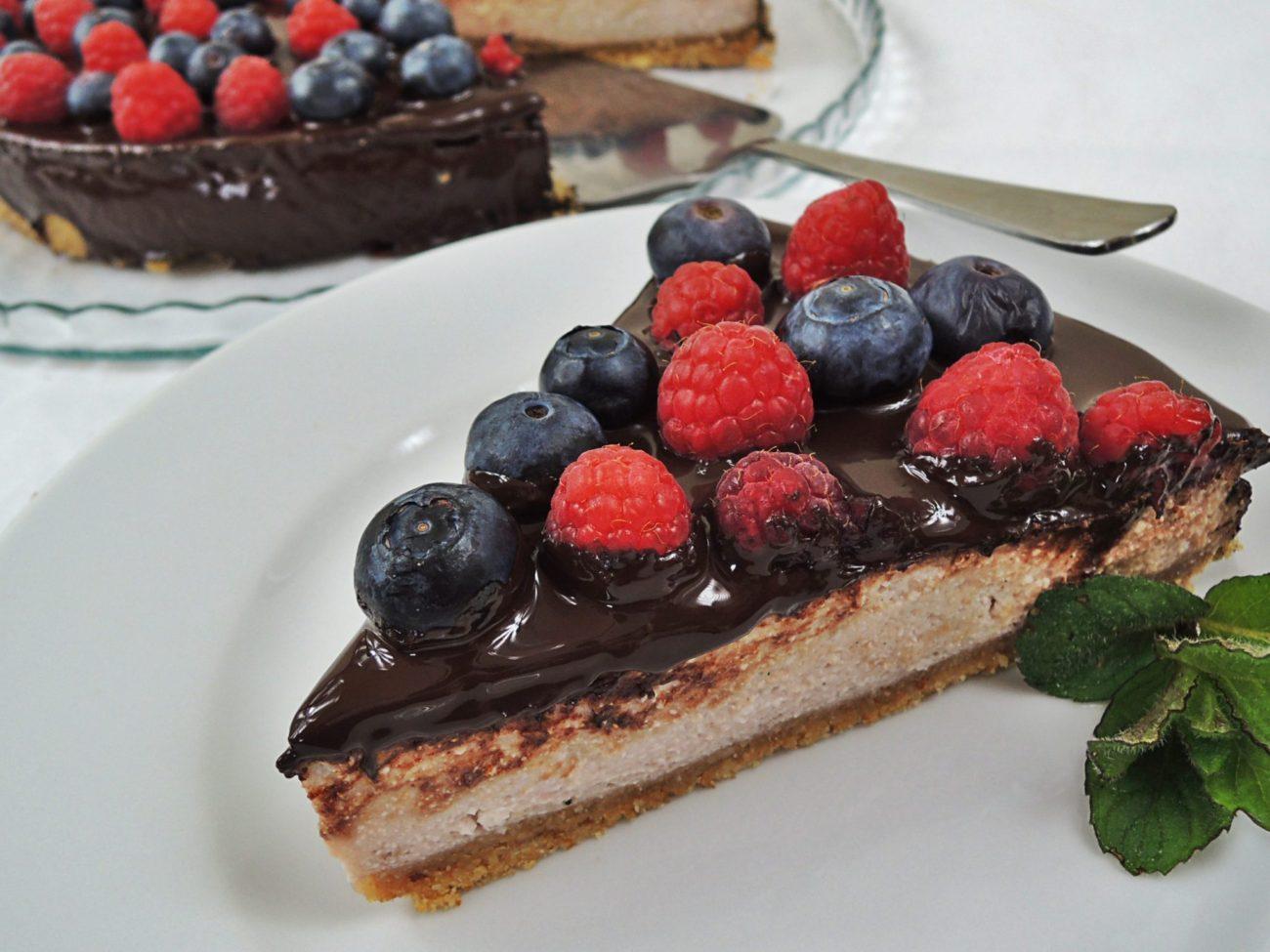 Malinový cheesecake s čokoládou