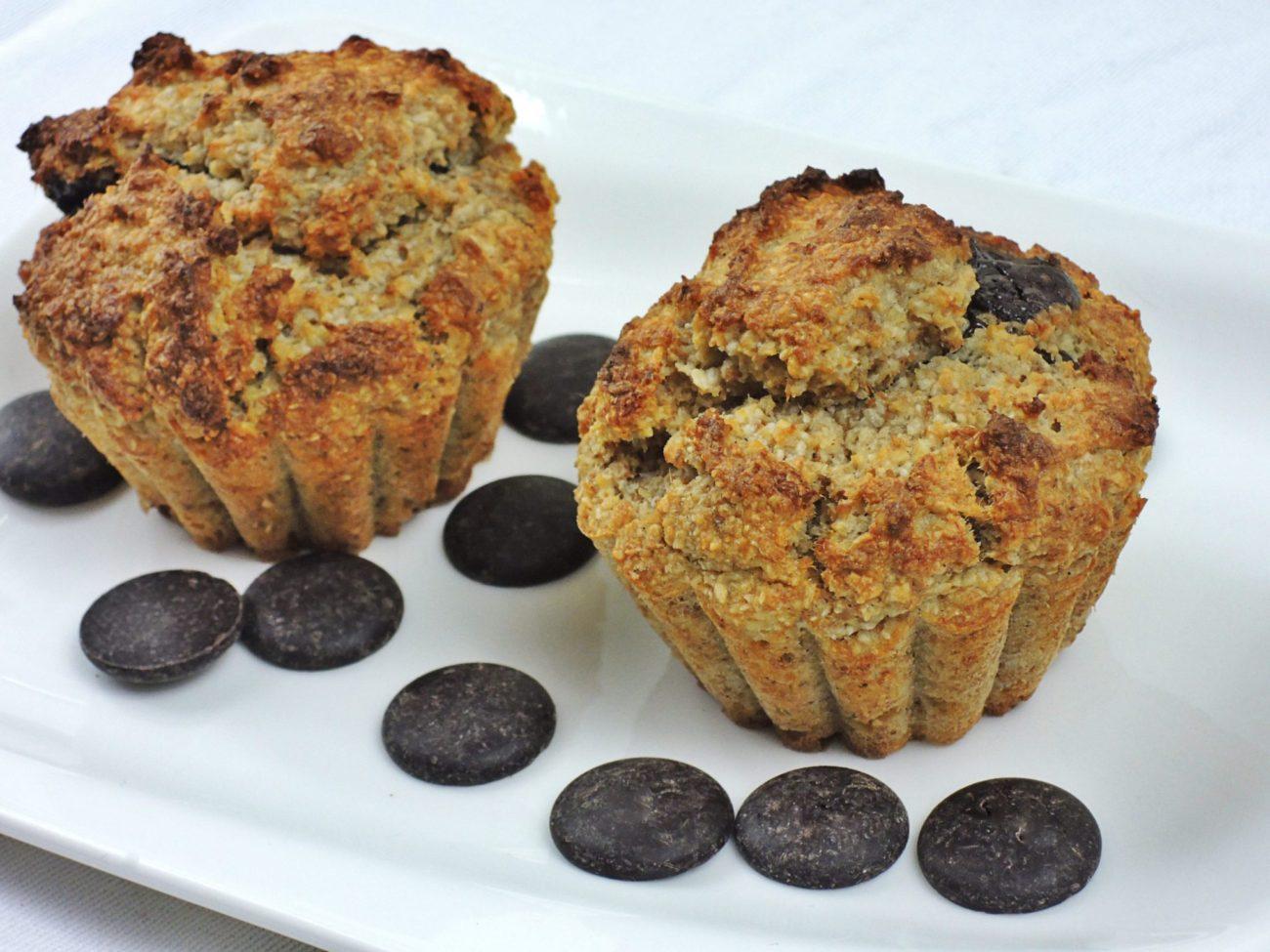 Banánové muffiny s kokosem a čokoládou