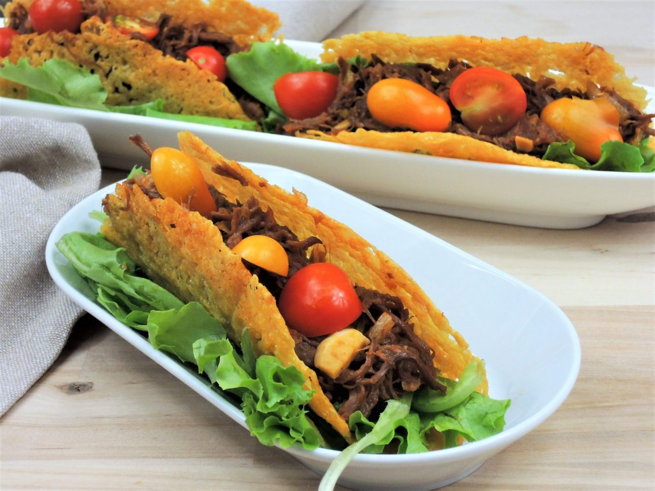 Sýrové tacos s trhaným hovězím masem